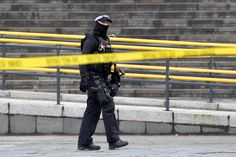 MANCHESTER, ENGLAND - OCTOBER 11: An armed police officer patrols outside the Arndale Centre on October 11, 2019 in Manchester, England. A man in his 40s was arrested on suspicion of assault, as paramedics treated five people for injuries at Manchester Arndale, a large shopping complex in the city centre. (Photo by Anthony Devlin/Getty Images) via @AOL_Lifestyle