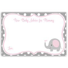 Have guests give new mommy advice at your girl baby shower with this pink and gray advice card featuring a sweet baby elephant, bordered by polka dots. Card measures 4 x 6.