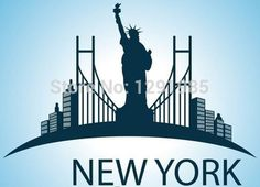 new york Statue of Liberty Wall Decal mural decor Famous Landmarks Removable Wall Decor Decal Sticker  Fashion Free Shipping