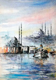 İstanbul Tabloları İST 005 Mural Painting, Watercolour Painting, Stone Painting, Sans Art, Islamic Art, Cartoon Drawings, Art Drawings, Arabic Art, Encaustic Art