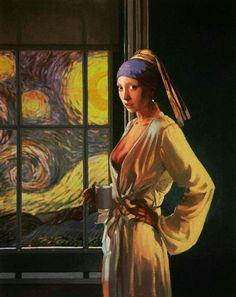 Collages, Collage Art, Johannes Vermeer, Mona Lisa, Girl With Pearl Earring, Pearl Earing, Vincent Willem Van Gogh, Van Gogh Art, Tangle Art