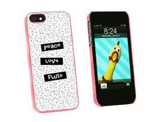 Peace Love Flute - Snap On Hard Protective Case for Apple iPhone 5 - Pink:Amazon:Cell Phones & Accessories