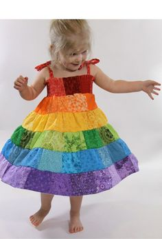 rainbow party dress- I like this idea in theory. Think this dress is not quite my style, but it inspires an idea for her bday dress nonetheless.