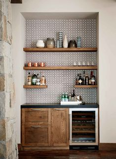 Portfolio by Project — Evars + Anderson Interior Design Wine And Coffee Bar, Coffee Bar Home, Home Wet Bar, Bars For Home, Home Bar Decor, Kitchen Decor, Bar In Kitchen, Modern Home Bar, Home Bar Designs