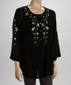 Look what I found on #zulily! Black & Blue Floral Embroidered Button-Up Tunic - Women & Plus #zulilyfinds