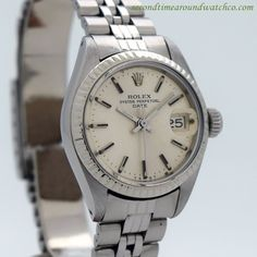1972 Vintage Rolex Ladies Date Automatic Ref. 6917 14k White Gold Fluted Bezel and Stainless Steel Case with Original Silver Dial with Applied Steel Stick/Bar/Baton Markers with Original Rolex Stainle
