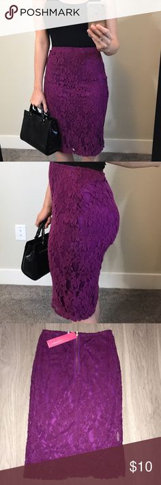 """Purple Lace Pencil Skirt This skirt is brand new with tags attached. It is a size small and it absolutely adorable on. It measures 25"""" from top to bottom. This is a great skirt for Spring!! Xhilaration Skirts Pencil"""