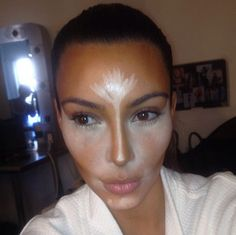 Kim Kardashian Tweeted Out Pictures of Her Makeup Contouring Trick In Progress! Come See the Magic!