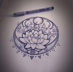 31 of the Prettiest Mandala Tattoos on Pinterest | Lunar Phase Lotus