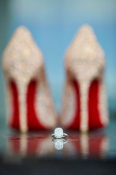 ever swoon client - Turks and Caicos Wedding #louboutin @Marisa McClellan Perry Atelier #cushioncut #engagementrings