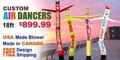 Opening a new store or having a Party or Event purchase a Awesome Air Dancer to show off something no one else has!  18 Feet Tall  Get a Customized Design for FREE Comes with Blower   All for only $899.99
