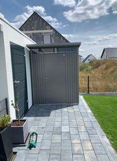 Garage Doors, Outdoor Decor, Home Decor, Gardens, Sidewalk, Galvanized Steel, Shed Houses, Decoration Home, Room Decor
