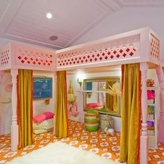 Kids Loft room with painted floor and solid rug. Nice reversal of pattern and solid.