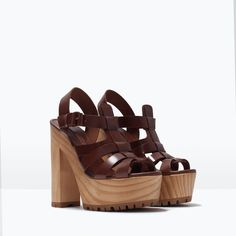 ZARA - SHOES & BAGS - LEATHER SANDAL WITH TRACK HEEL