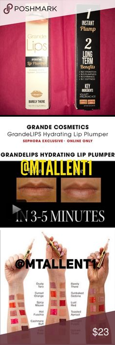 """NIB💜Grande Lips💜""""Barely There"""" Lip Plumper Gloss NIB💜Grande Lips💜""""Barely There"""" Hydrating Lip Plumper Gloss. Infused w/Volulip & Hyaluronic Acid, instantly improves lip volume in 3-5 minutes( plus has long term benefits). It's clinically proven formula increases all over hydration 51%, Plumpness 15%, softness 11%, firmness 13% in just 30 days use when applied twice daily. Unique cushion applicator easily wipes clean. Feels smooth & combines effortlessly with other lip products.Sephora…"""