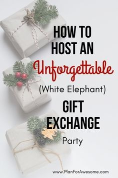 How to Host an Unforgettable (White Elephant) Gift Exchange Party - Adorable FREE Printables in this post. Also, a post with great white elephant gag gift ideas! # white elephant Gift Ideas How to Host an Unforgettable (White Elephant) Gift Exchange Party Gift Exchange Themes, Christmas Gift Exchange Games, Christmas Games, Christmas Ideas, Xmas Games, Christmas Traditions, Christmas Cookies, Christmas Crafts, White Elephant Game