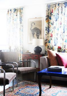 patterned curtains! Savvy Home: Shop the Look: Indre Rockefeller's Print-Happy Home