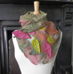 felted scarf felt neck warmer felted neck scarf felt neck wrap wearable art woodland scarf nuno felted scarf wool silk wrap art wrap leaves by hipposinhats on Etsy