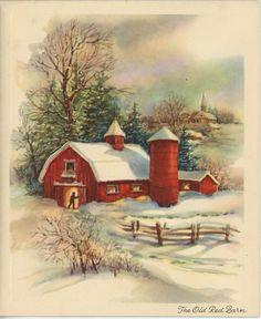 VINTAGE SNOW WINTER GOLDEN GLOW RED BARN TREES CHURCH FARM YARD GREETING CARD