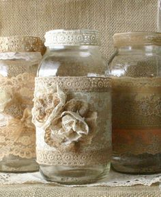 Burlap wedding FLOWER vase, ViNTAGE LACE cande holder, FALL WEDDiNG, rustic, shabby chic, country chic. via Etsy.