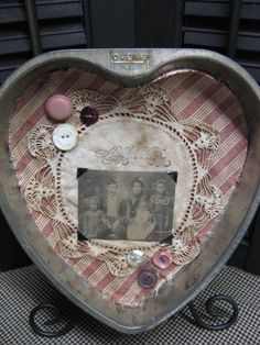 Vintage Heart Baking Pan With Loving Collage