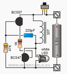043 - Encender un led blanco con Electronics Mini Projects, Hobby Electronics, Electrical Projects, Electronics Components, Electronic Circuit Design, Electronic Engineering, Joule Thief, Circuit Board Design, Electric Circuit