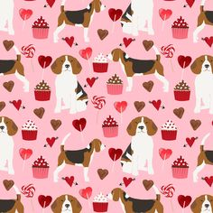 Colorful fabrics digitally printed by Spoonflower - beagle valentines dog fabric love hearts valentines day beagles fabric dogs dog