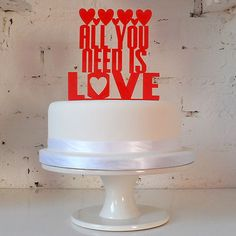 Wedding Cake Topper 'All You Need is Love' The Beatles Song Unusual Retro