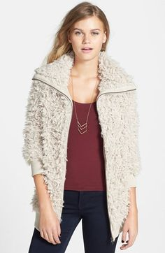 "BP Faux Shearling Jacket (Juniors)    Be best-dressed when the mercury drops in a plush faux-shearling jacket crowned with a wide collar.      27"" length (size Medium).     Front zip closure.     Side-seam pockets.     Lined.     100% polyester.     Dry clean.     By BP.; imported.     BP."