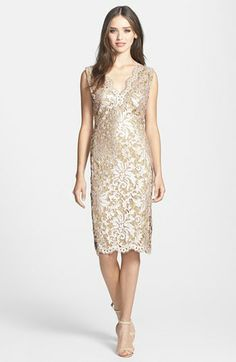 Tadashi Shoji V-Neck Sequin Lace Sheath Dress available at #Nordstrom