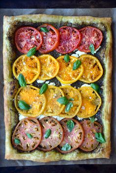 Heirloom Tomato and Goat Cheese Tart from @Kelly Senyei | Just a Taste