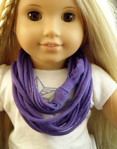 PURPLE Jersey Knit Infinity Scarf for American Girl by Gone2Pieces, $5.00