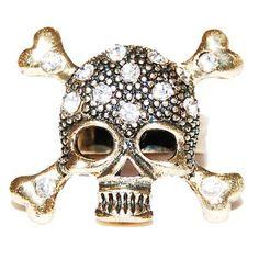 Crystal Skull & Crossbone Ring
