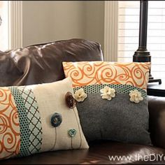 Use all 4 fabrics and medallions from fabric for comforter. Inspiration File: Embellished Throw Pillow Tutorial {with video} Cute Pillows, Diy Pillows, Decorative Pillows, Pillow Ideas, Pillow Patterns, Accent Pillows, Homemade Pillows, Fall Pillows, Throw Cushions