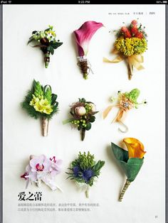 amazing variety of corsages and boutonnieres