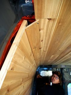 Cedar Paneling for Van Interior – Tangi T. Cedar Paneling for Van Interior Van Conversion Interior, Camper Van Conversion Diy, Van Interior, T4 Camper Interior Ideas, Interior Design, T3 Vw, Cedar Paneling, Kombi Home, Sprinter Van Conversion