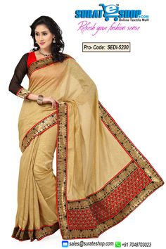 Make The Heads Flip The Moment You Dress Up In This Sort Of A Attractive Beige Banarasi Silk, Jacquard Saree. This Pretty Attire Is Showing Some Great Embroidery Done With Lace, Self Work. Paired With A Contrast Black & Red Art Silk, Chiffon Blouse  Visit : http://surateshop.com/product-details.php?cid=2_26_36&pid=7488
