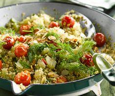 #Quinoa aux #tomates #cerise, #céleri #branche, #graines de #courge et #aneth