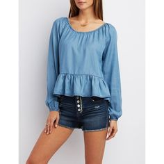 Charlotte Russe Bloused Chambray Top ($24) ❤ liked on Polyvore featuring tops, blouses, indigo denim, blue blouse, peplum tops, blue long sleeve blouse, chambray top and charlotte russe