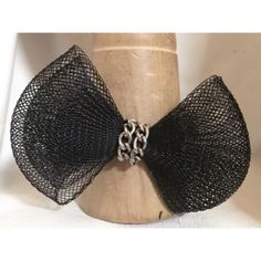 "black mesh bow 2 rows of silvertone chain gunmetal chunky chain silvertone fancy clasp fits 6""' - 7.45"" or order by size"
