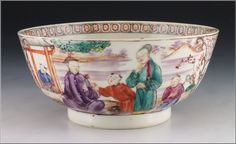 Antique Circa 1800 Chinese Export Porcelain Bowl w/ Mandarin Characters! This beautiful Chinese export porcelain bowl is decorated with enamel painted mandarin character views. There are also painted birds and butterflies between the views surrounded by a pattern that continues along the inside of the rim. It dates circa 1800 and measures approximately 2 + ½ inches deep by 5 + 5/8 inches diameter. It has had some professional restoration to the bottom, along with one spot along the rim, ...