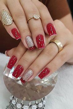 Red Gel Nails, Red Acrylic Nails, Pink Nails, Glitter Nails, Girls Nail Designs, Nail Art Designs Videos, Christmas Gel Nails, Romantic Nails, Nails Design With Rhinestones