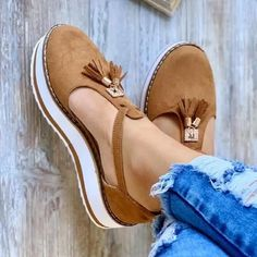 Summer Wedge Suede Plus Size Sandals – Mensootd Summer Wedges, Summer Shoes, Summer Sandals, Cute Shoes, Me Too Shoes, Brown Sandals, Brown Loafers, Suede Heels, Womens Flats