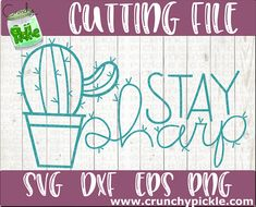 Cactus themed svg cutting file for Cricut or Silhouette machines Silhouette Machine, Silhouette Cameo, Cactus Pun, Classroom Themes, Pickle, Svg Cuts, Puns, Cutting Files, Vinyl Decals