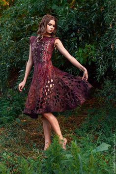 """Купить Платье """" лепестки"""" - платье, платье валяное, тонкий войлок, антонина зимина"""