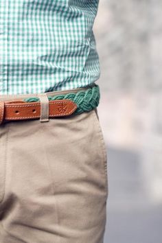 All in the details: embossed nautical insignia on mint green belt with coordinated shirt