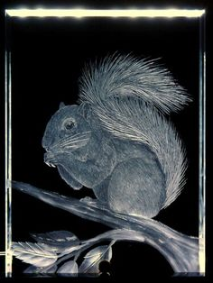 *SQUIRREL* hand engraved crystal both sides by Catherine Miller of Catherine Miller Designs * Technique-stone wheel* Starfire Crystal brass pin