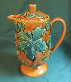 Vintage Royal Sealy Majolica Style Coffee Pot Japan Pottery Green Leaves Retro