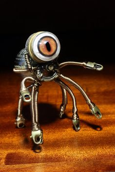 Steampunk Octopus Minion with Glass Dome by CatherinetteRings