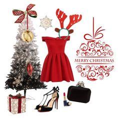 """""""Happy Christmas dinner on Red dress"""" by house-samba on Polyvore featuring Chi Chi, Christian Louboutin, Jimmy Choo, John Lewis, GE, Estée Lauder and GlucksteinHome"""